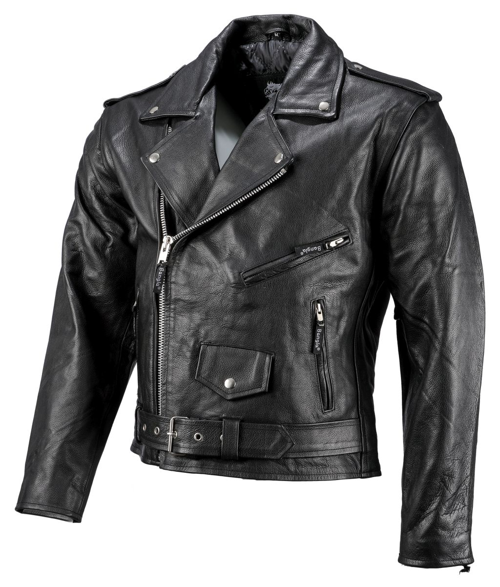 Bangla Herren Chopperjacke Rockabilly Biker Leder Jacke Schwarz S - 6 XL