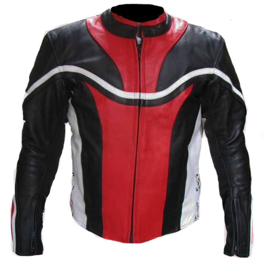 Motorrad Jacke Lederjacke Motorradjacke Herren Rot Schwarz weiß M L XL XXL XXXL