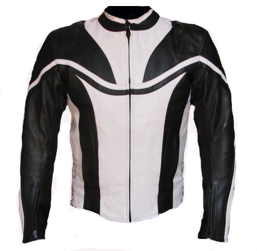 Motorrad Jacke Lederjacke Motorradjacke Herren Schwarz Weiss M L XL XXL