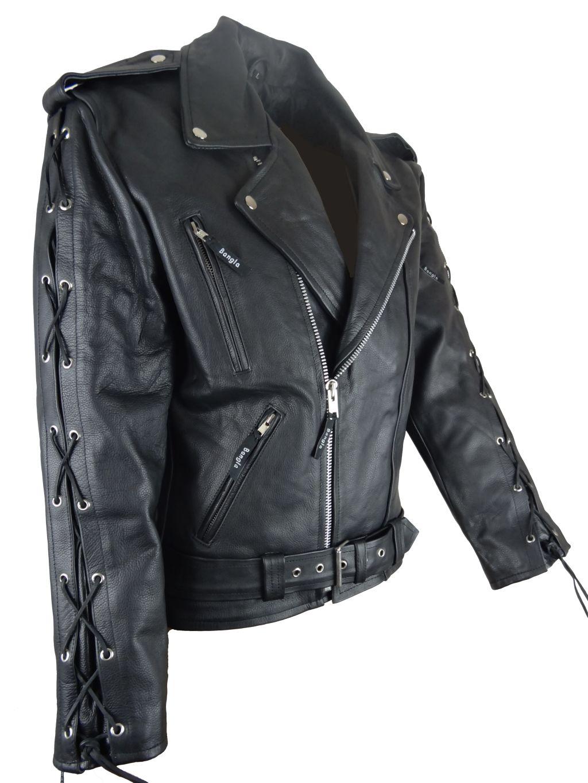 Motorrad Jacke Motorradjacke Leder Jacke Chopper Armschnürung schwarz S - 6 XL