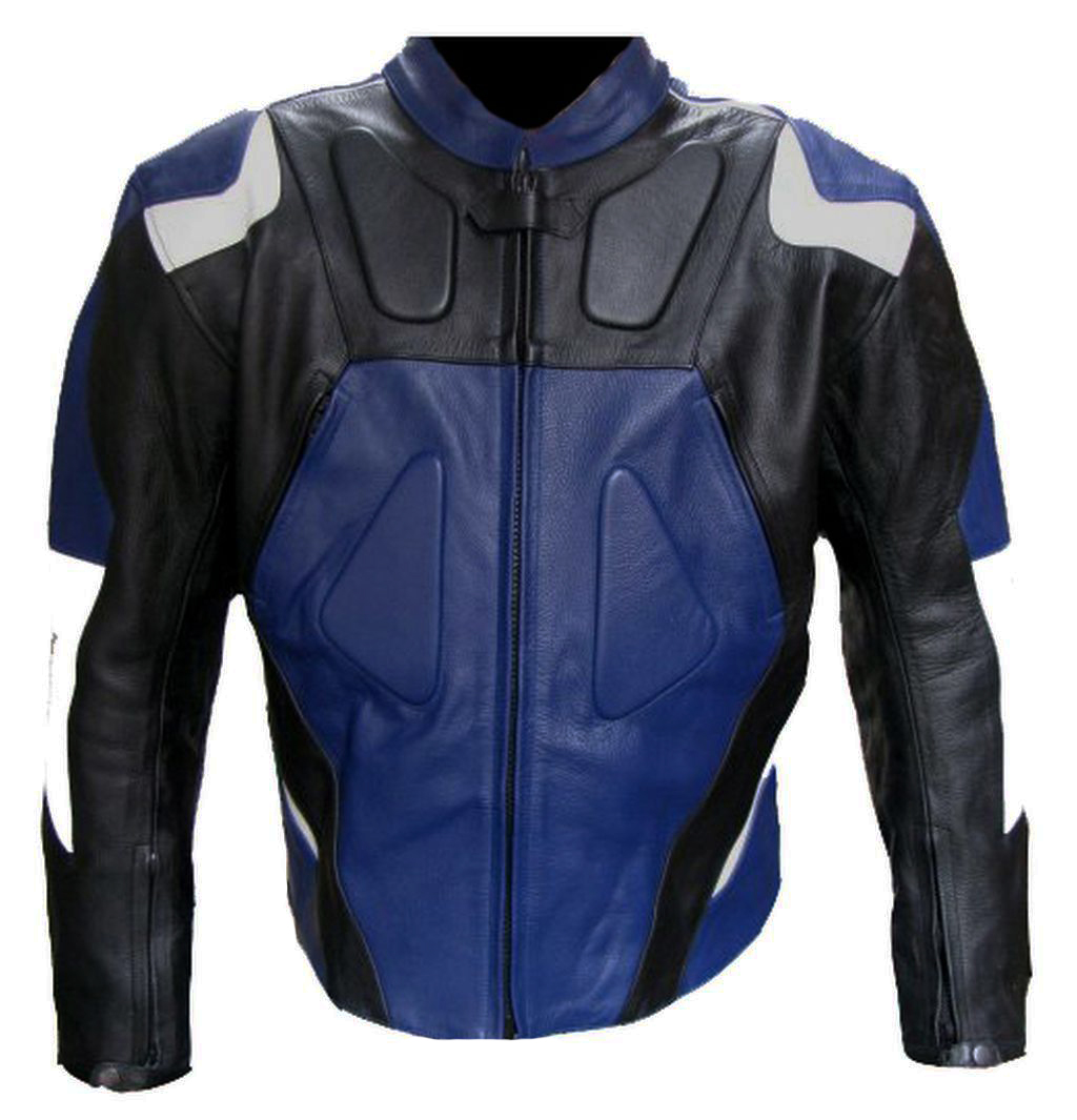 Bangla Motorrad Jacke Motorradjacke Leder Blau schwarz Weiss M - XXXL