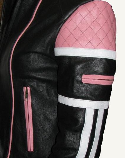 Damen Motorrad Jacke Lederjacke Schwarz Weiß Pink Classic S M L XL NEU