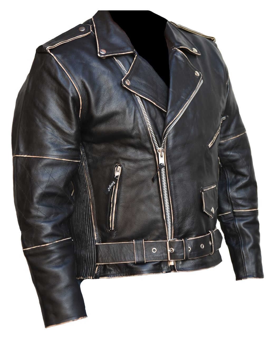 Bangla Herren Lederjacke Retro-Look Motorrad Schwarz Chopper Antik S  - 6 XL