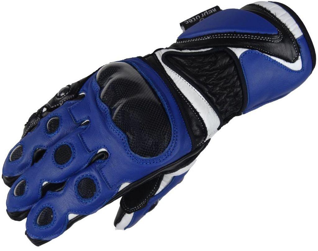 Bangla Motorradhandschuhe Motorrad Handschuhe Leder Quad Blau schwarz XS - XL