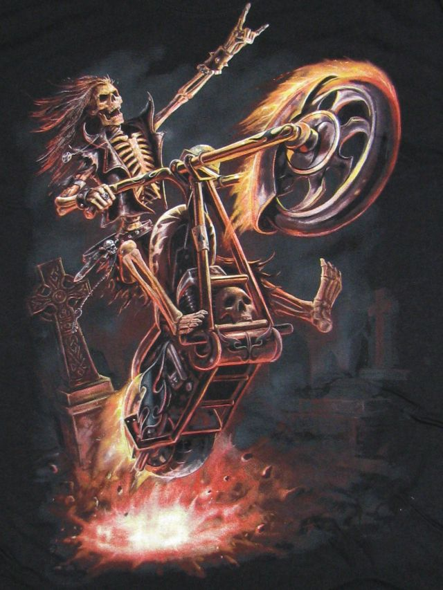 Spiral T-Shirt Gothic Dark Schwarz Reaper Motorrad Biker TR250 M - XXL
