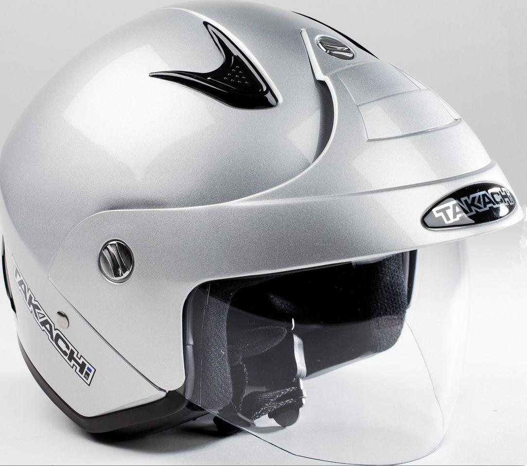 Jethelm City Helm Scooter Roller Enduro Motorrad Takachi TK 10 Silber XS - XXL