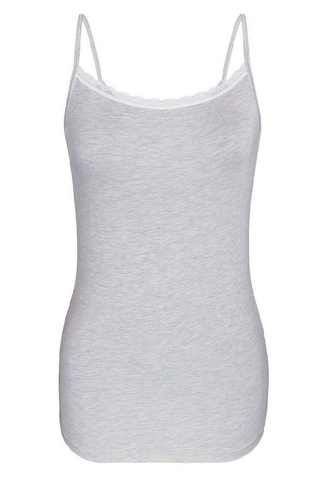 35290 Sassa Top Shirt Damen Unterhemd schmale Träger in schwarz grau oder ivory