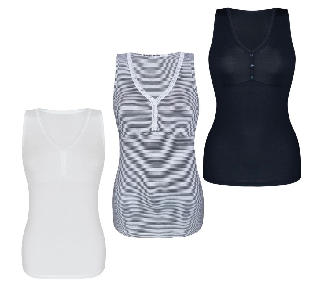 Sassa Damen Top Strip Range Hemd Hemdchen Shirt stripes white navy 36 -  46