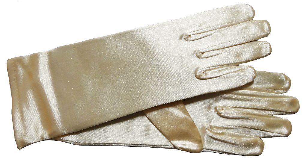 1 x Damen Handschuhe Kurz Party Fasching Hochzeit Halloween Gold Satin