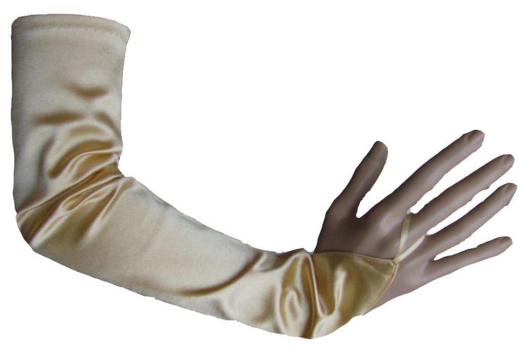 Damen Arm Stulpen Satin Modana Party Fasching Halloween Lang Gold