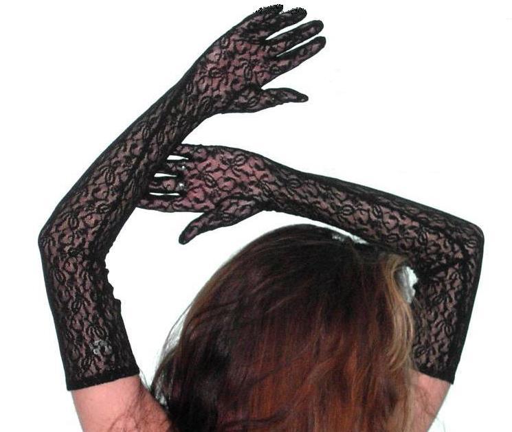 Damen Party Handschuhe aus Spitze 56 cm lang Fasching Schwarz Neu