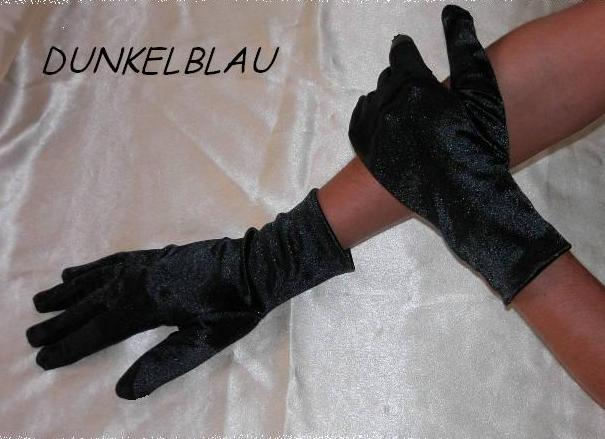 Handschuhe Kurz Damen Blau Satin Fasching Fastnacht Karneval Neu