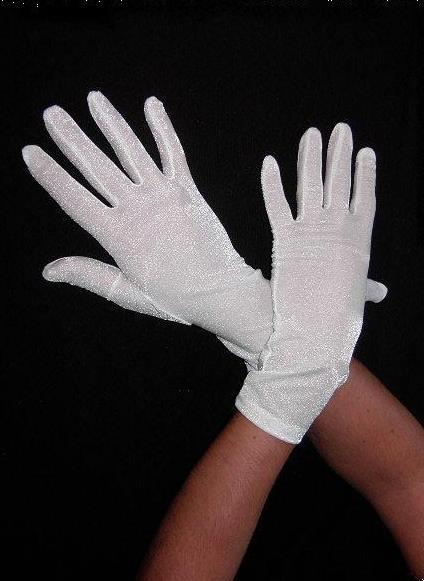 2 Paar Handschuhe Kurz Damen Weiß Satin Fasching Fastnacht Karneval Neu