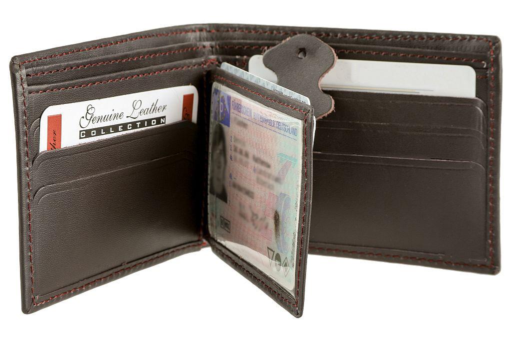 Bangla Kreditkartenetui Kartenhalter Gelbörse klein Leder Schwarz 510