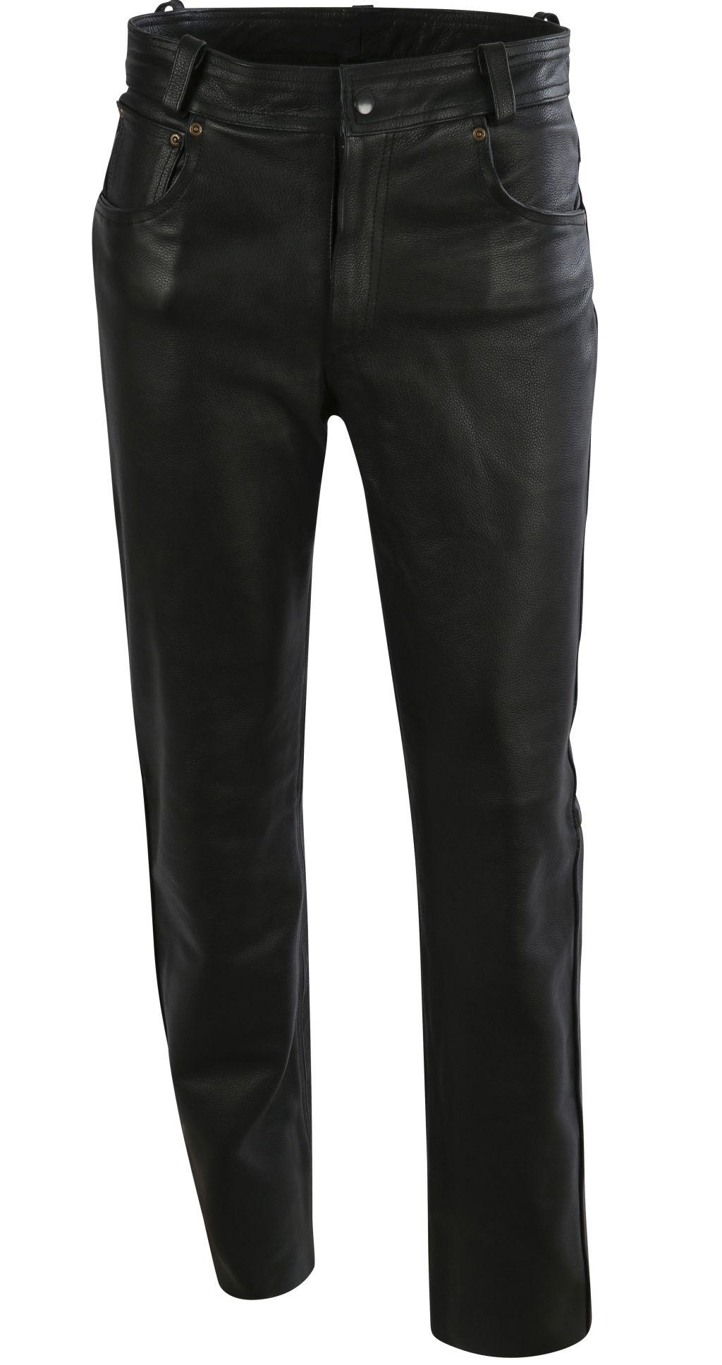 Bangla Lederhose Elegante Lederjeans Biker Jeans Schwarz 29 - 34 inch