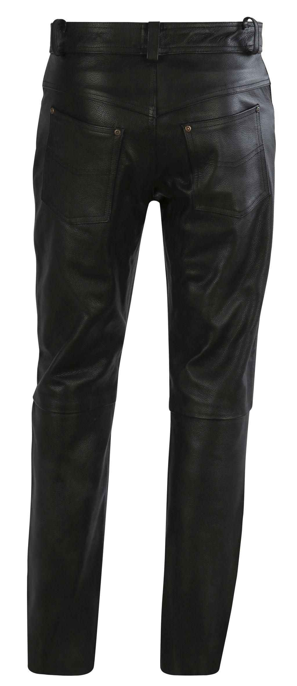 Herren Lederjeans Lederhose Leder Biker Motorrad Schwarz 36 - 46 inch