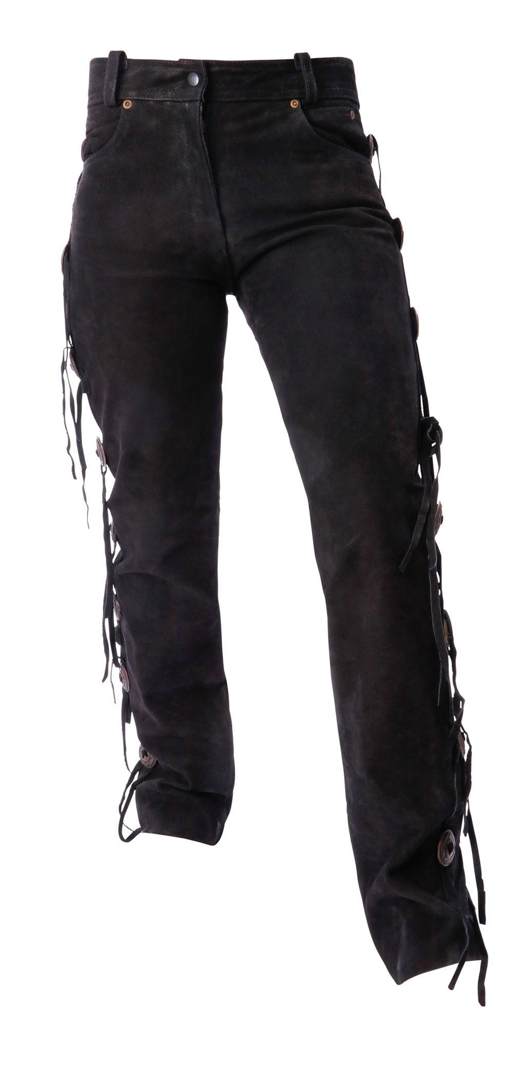 Damen Jeans Conchos Lederhose Westernreiten Motorrad Schwarz 29-32 inch