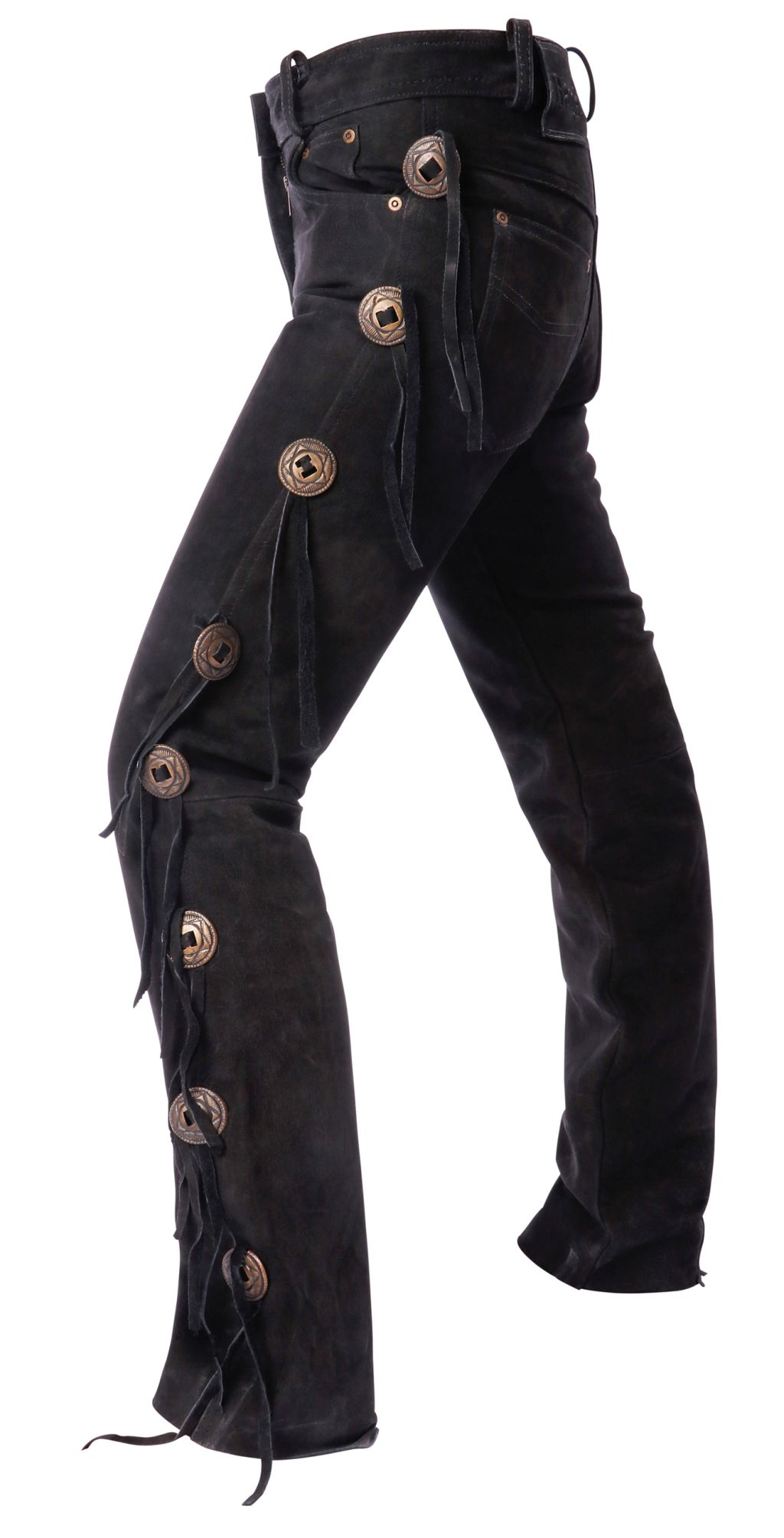 Bangla Concho Lederhose Jeans Western Motorrad Schwarz 29 - 38 inch