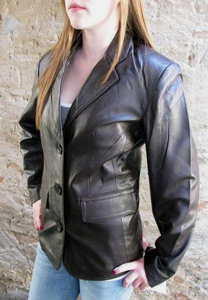 Jacke Elegante Lederjacke Damen Braun Blazer  Gr. 36