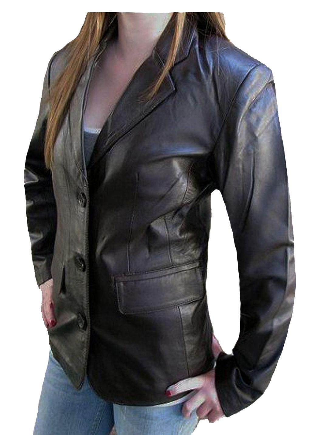 Damen Leder Jacke Business Blazer  Braun Gr. S M L XL