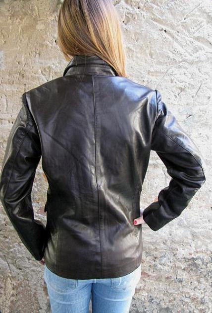 jacke elegante lederjacke damen braun blazer gr 36. Black Bedroom Furniture Sets. Home Design Ideas