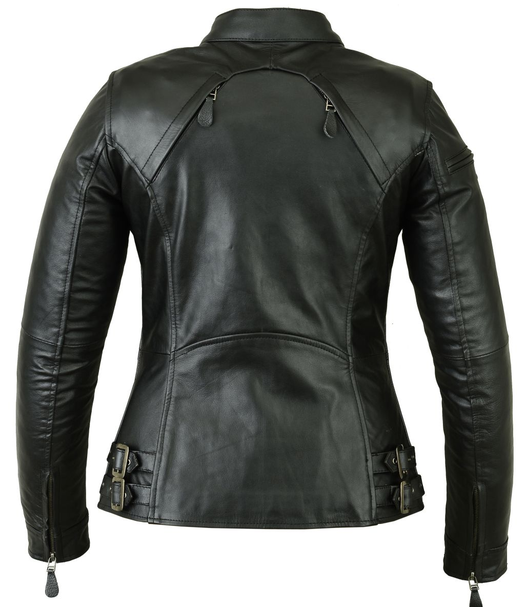 Bangla Damen Bikerstil Lederjacke Leder Jacke Schnallen schwarz S M L XL