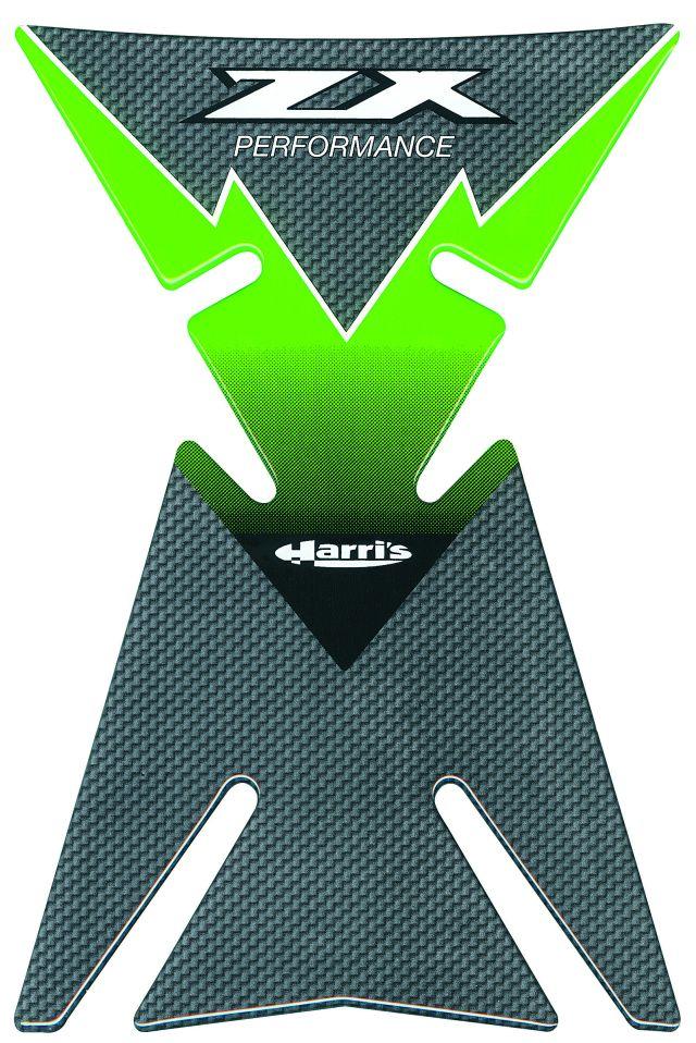 Motorrad Tankpad für Kawasaki ZX 6 7 9 10 12 R grün Carbonlook