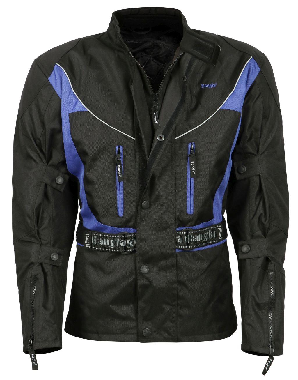 Bangla Motorrad Jacke Motorradjacke Textil Cordura Blau schwarz S - 8 XL