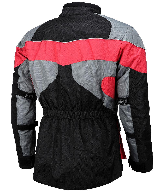 Motorrad Jacke Touren Cordura Motorradjacke rot schwarz grau M